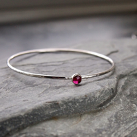 Sterling Silver Bangle with Ruby