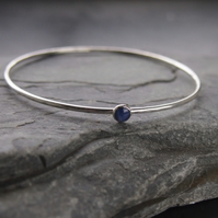 Sterling Silver Bangle with Star Sapphire