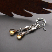 Golden Citrine and Sterling Silver Earrings