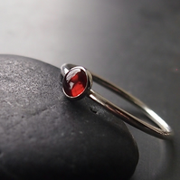Garnet and Sterling Silver Ring.