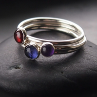 Summer Berries Trio of Silver Rings