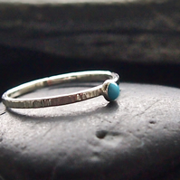 Sterling SilverTextured Skinny Stack with Turquoise