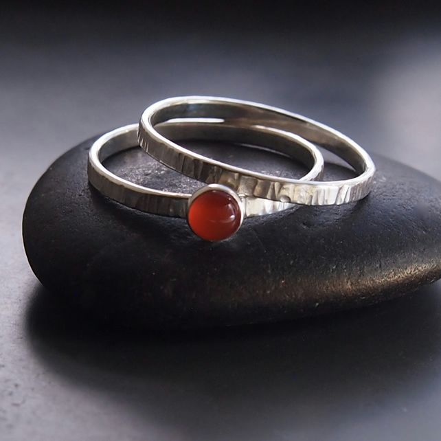 Duo of Sterling Silver Textured Bands with Carnelian