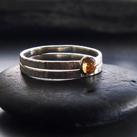 Duo of Sterling Silver Textured Bands with Citrine