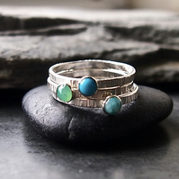 Tranquility -Three Textured Stacking Sterling Silver Rings