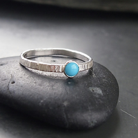 Textured Silver Ring with Turquoise