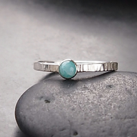 Textured Silver Ring with Amazonite