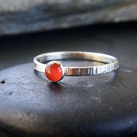 Sterling Silver Textured Band with Carnelian