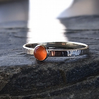Sterling Silver Textured Band with Rose Cut Carnelian