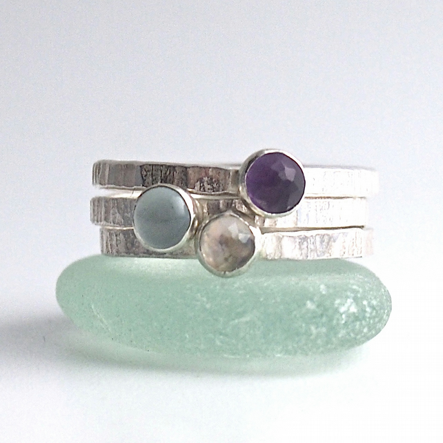 Sterling Silver Textured Bands with Moonstone, Aquamarine and Amethyst