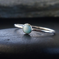 Sterling Silver Skinny Ring with Larimar