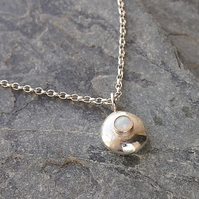 Silver Pebble Necklace with White Opal