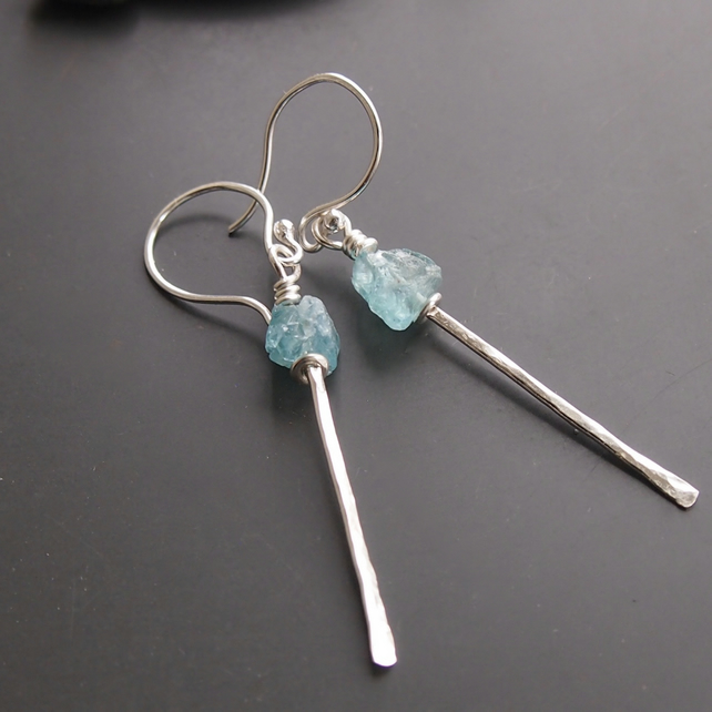 Forged Earrings with Apatite Crystals