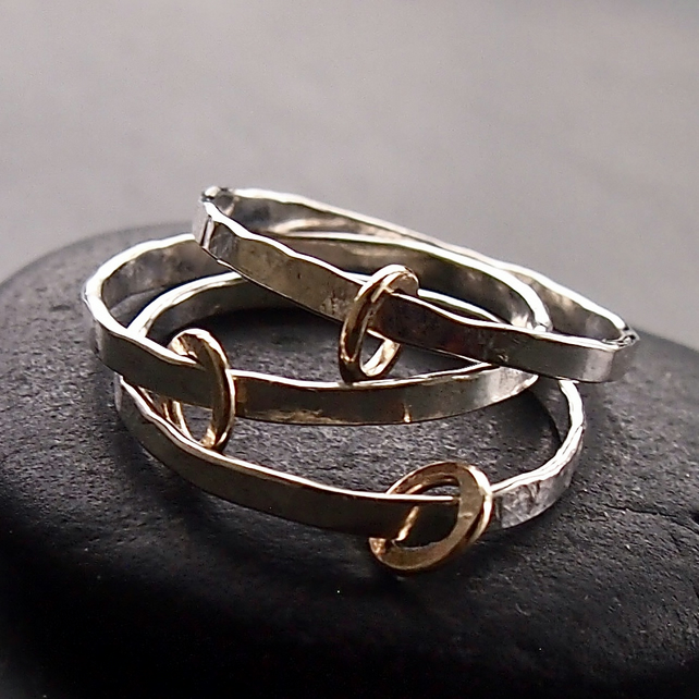 Trio of Sterling Silver Rings with Gold Hoops