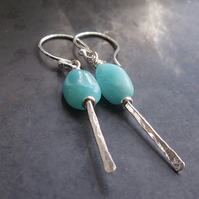 Sterling Silver and Amazonite Forged Earrings