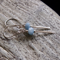 Sterling Silver and Aquamarine Forged Earrings