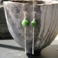 Sterling Silver Long Forged Earrings with Green Zoisite