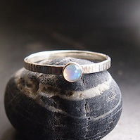 Sterling Silver Textured band with White Opal