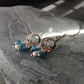 Sterling Silver Moon Earrings with Blue Apatite and Pearls