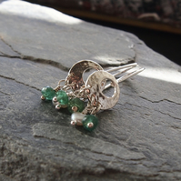 Sterling Silver Moon Earrings with Green Apatite and Pearls