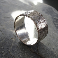 Unisex Sterling Silver Granite Ring