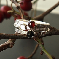 Snow White Trio of Rings in Sterling Silver