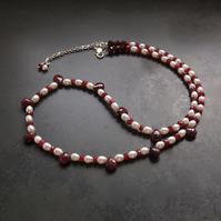 Ruby Drops and Pearl Necklace