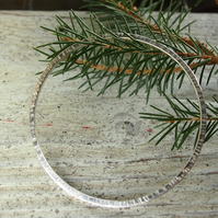 Sterling Silver Bashed  Bangle