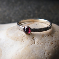 Textured Silver Ring with Rhodolite Garnet