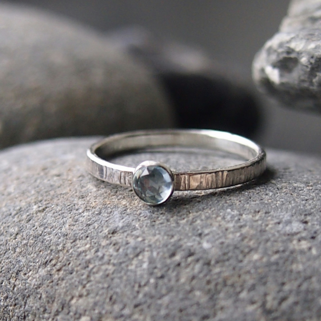 Textured Silver Ring with Aquamarine