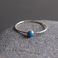 Turquoise Skinny Stacking Sterling Silver Ring.