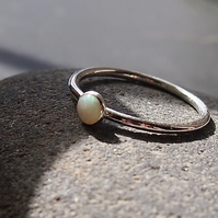 Sterling Silver and White opal Halo Ring