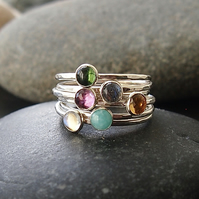 Sterling Silver Skinny Rings with Gemstones