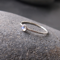 Moonstone Skinny Stacking Sterling Silver Ring.