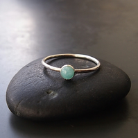 Sterling Silver Skinny Ring with Amazonite