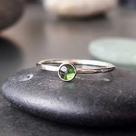 Sterling Silver and Green Tourmaline Skinny Ring