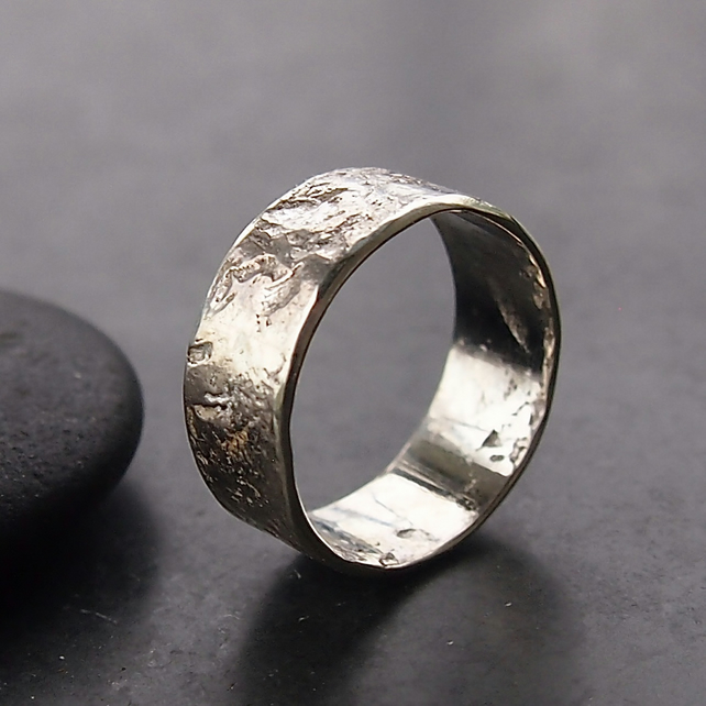 Sterling Silver Granite Textured Ring