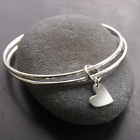 Sterling Silver Double Bangle with Heart Charm