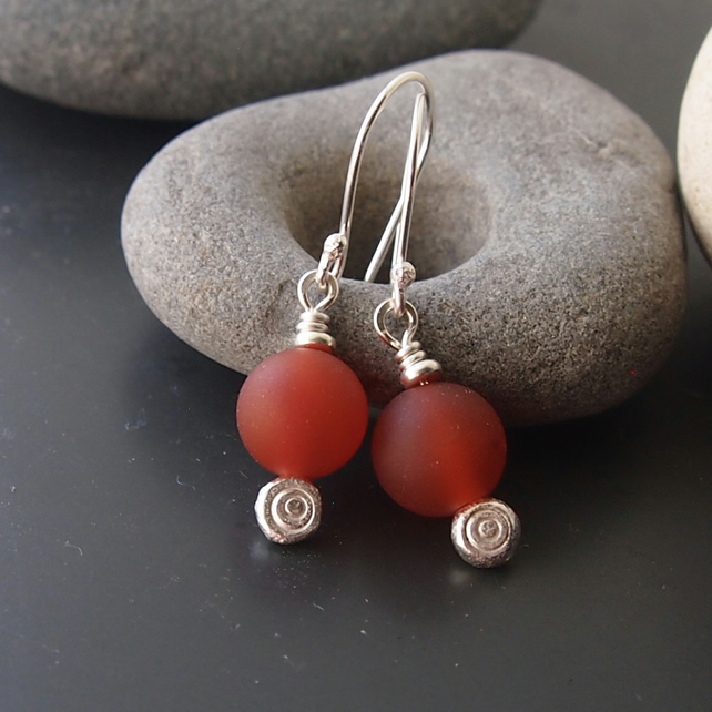 Sterling Silver and Carnelian Dot Earrings
