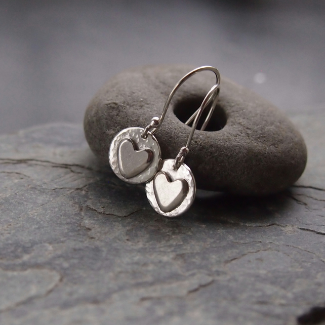 Sterling Silver Heart and Disc Earrings