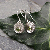 Sterling Silver Disc Earrings with Peridot