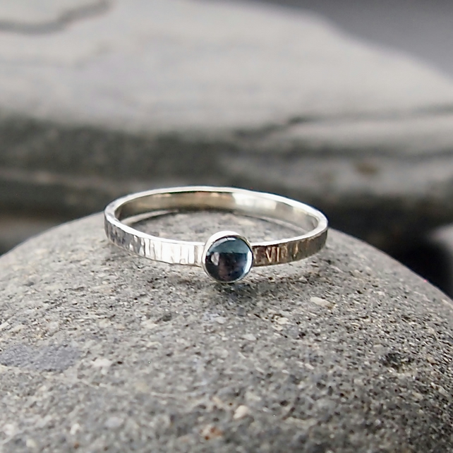 Sterling Silver and Blue Topaz Textured Ring