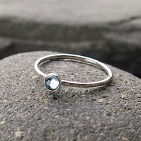 Sterling Silver and Blue Topaz Skinny Ring