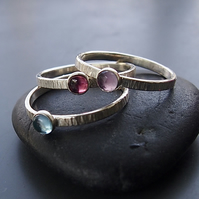 Summer Light Trio of Sterling Silver Stacking Rings