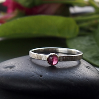 Textured Sterling Silver Stacking Ring with Pink Tourmaline