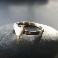 Sterling Silver Hammered Band with Heart