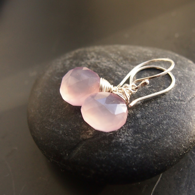 Sterling Silver Wrapped Rose Quartz Drop Earrings