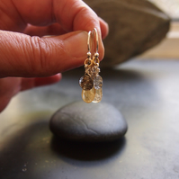 Sterling Silver, Citrine and Tourmalinated Quartz Drop Earrings