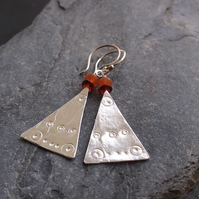 Sterling Silver Triangle Earrings with Garnet and Carnelian.