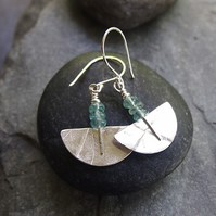 Sterling Silver Semi Circle Earrings with Apatite